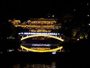 西江苗寨风雨桥夜景
